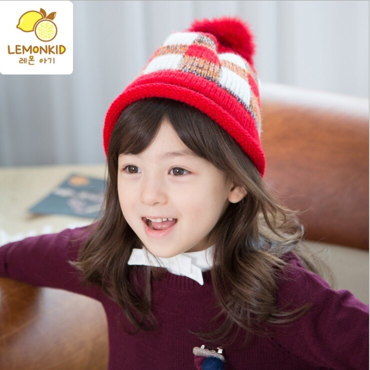 WallFree窩自在★秋冬經典大格紋拚色時尚可愛毛球捲邊保暖針織兒童毛線帽