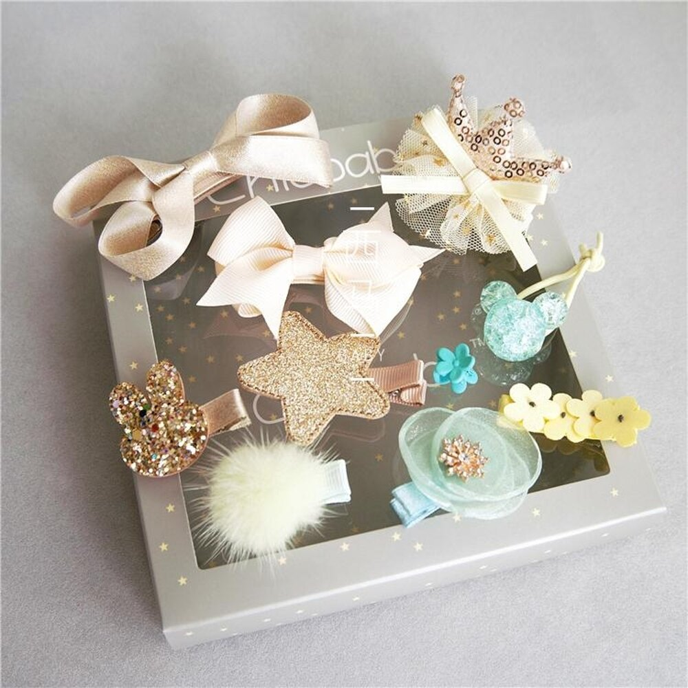 兒童頭飾 韓國兒童髮夾套裝可愛女寶寶髮卡頭飾皇冠公主女童髮卡髮飾品禮盒 唯伊時尚