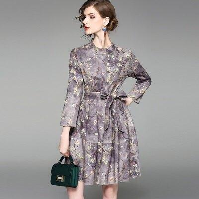連身裙長袖洋裝-立領印花繫帶收腰女連衣裙2色73of138【獨家進口】【米蘭精品】