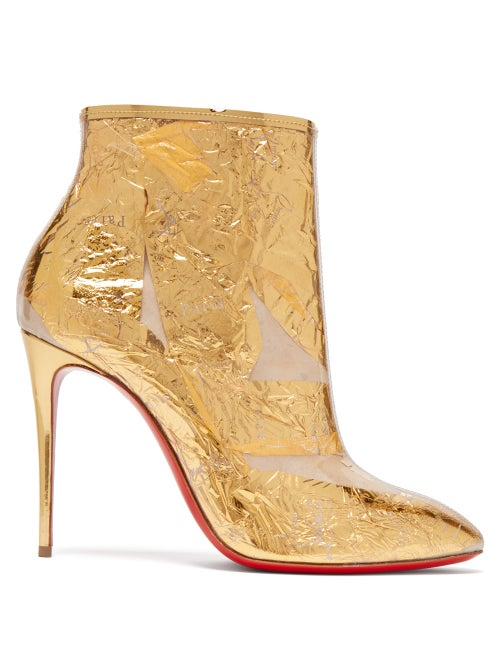 Christian Louboutin - Booty Cap 100 Creased-foil Perspex Ankle Boots - Womens - Gold