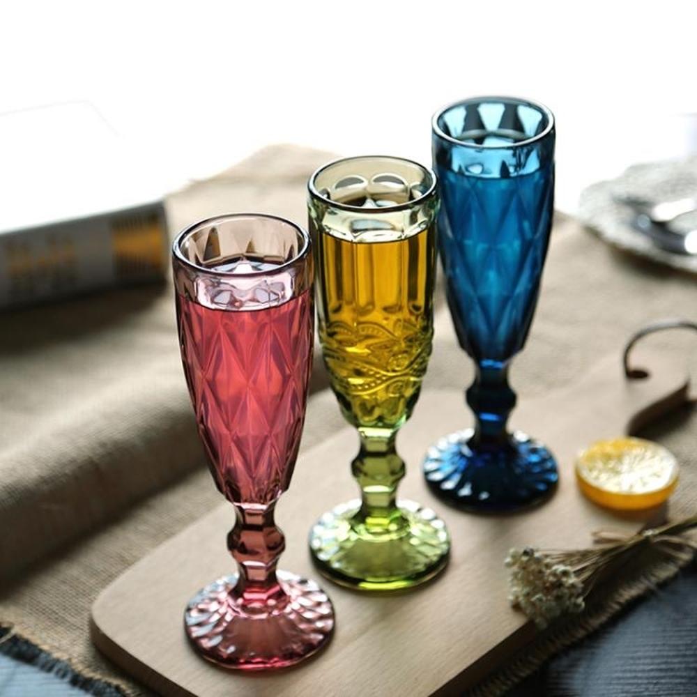 日式酒具 【三只裝】復古彩色浮雕香檳杯創意果汁杯玻璃高腳杯紅酒杯酒具 非凡小鋪