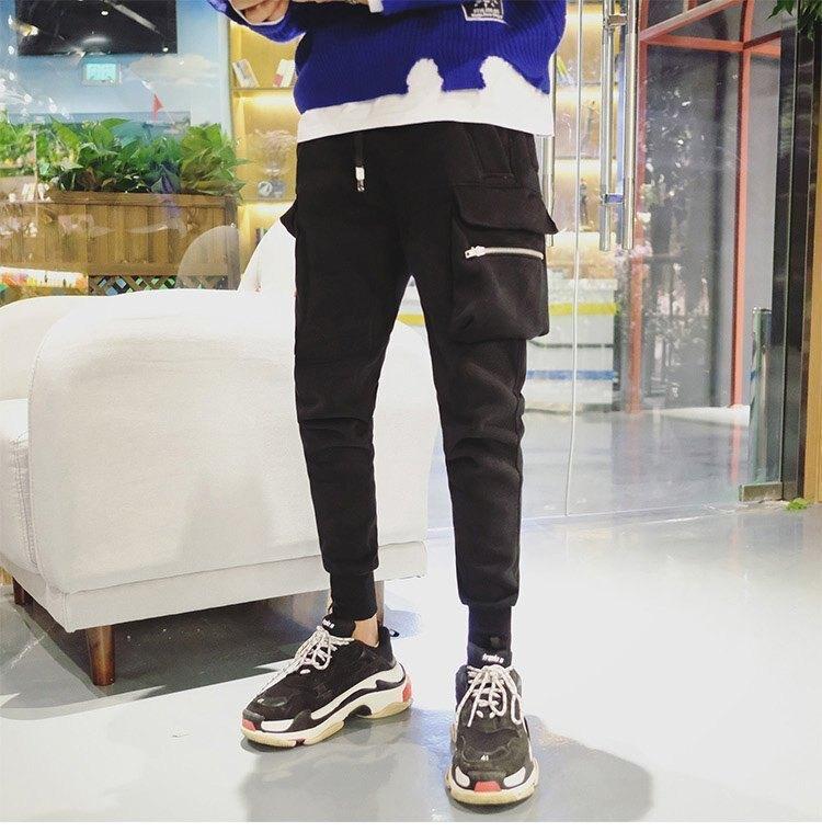 FINDSENSE G6 韓國時尚 冬款加厚加絨口袋拉鍊休閒長褲運動褲哈倫褲