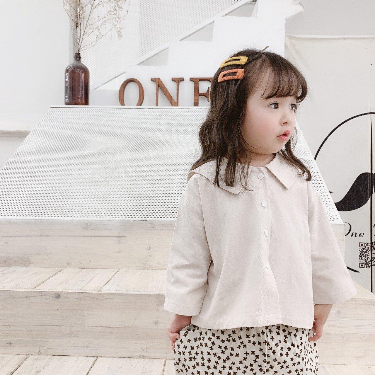 女童秋冬款刺繡學院風長袖上衣80-120cm