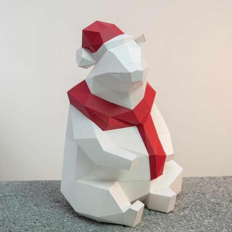 DIY手作3D紙模型擺飾 聖誕節/小動物系列 - 聖誕北極熊