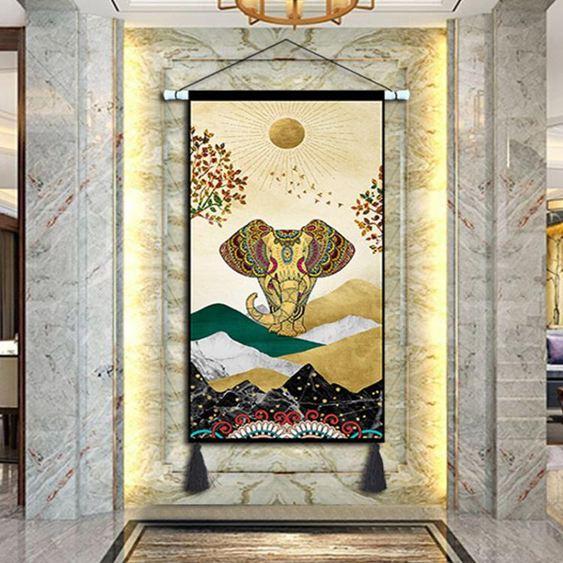 掛毯東南亞民宿吉祥如意客廳掛布玄關大象玄關裝飾畫書房壁毯壁掛