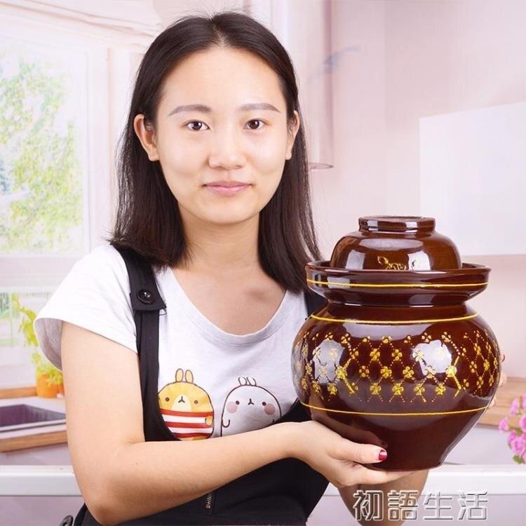 四川泡菜壇子陶瓷清倉家用8斤腌制土陶缸加厚無鉛廚房儲物密封罐  秋冬新品特惠