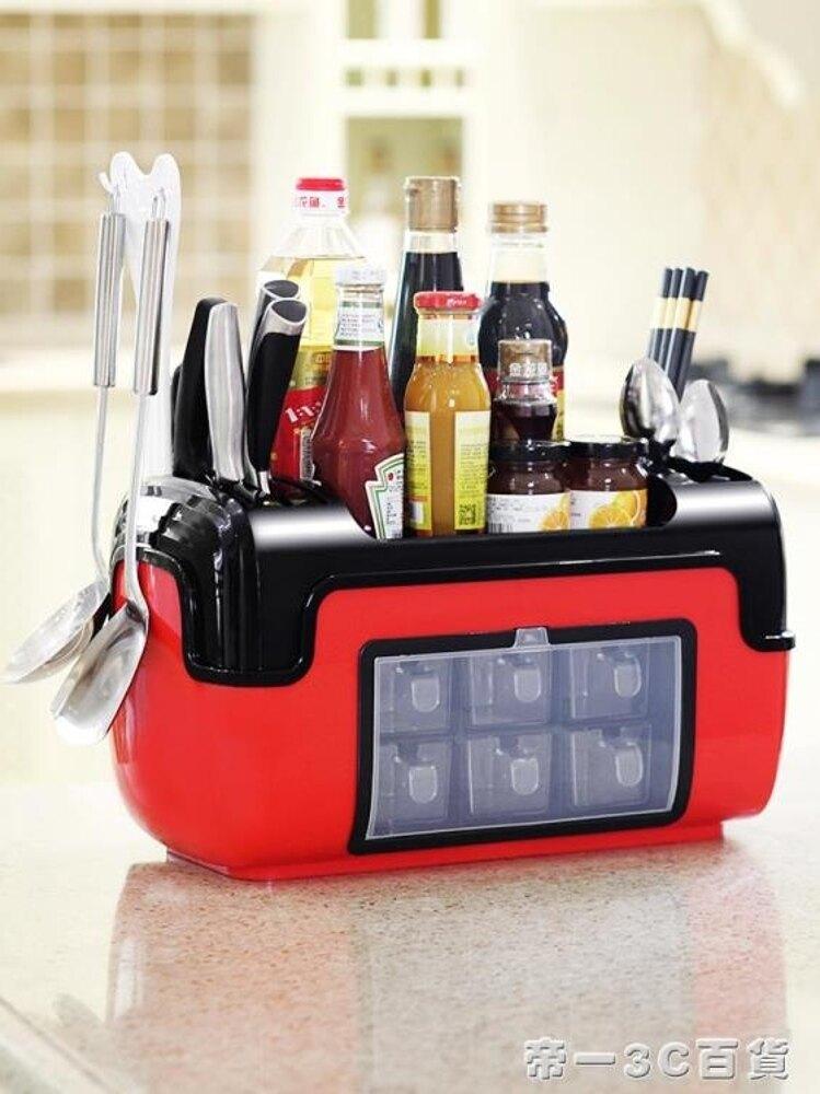 廚房佐料瓶罐架帶蓋調料盒套裝放油鹽醬醋刀具收納架多功能調味罐【帝一3C旗艦】YTL 雙12購物節