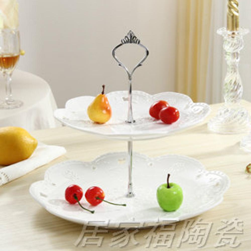 陶瓷水果盤歐式三層點心盤蛋糕盤多層糕點盤客廳創意糖果托盤架子 清涼一夏钜惠