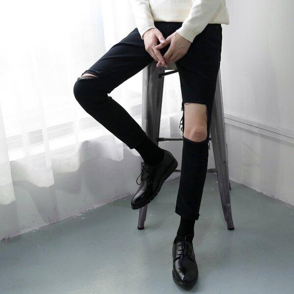 韓國 男破壞壞牛仔褲 訂做款式  窄版  男 褲子 七天預購+現貨