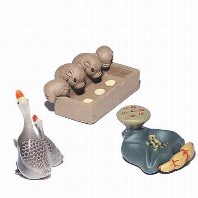 【精品變色紫砂茶寵-3件套-1款/組】茶藝茶盤配件小玩件招財擺件可養茶玩茶-7501041
