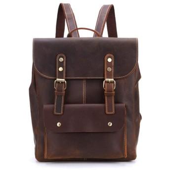メンズバッグ ヴィンテージ手作りレザーバックパック旅行バックパック学校バックパック男性ファッショントレンドカジュアルビジネス レザーバッグ (Color : Dark Brown, Size : S)