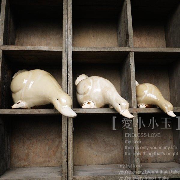【池塘物語:戲水鴨子】美式鄉村田園家居飾品 陶瓷工藝品擺件3個組