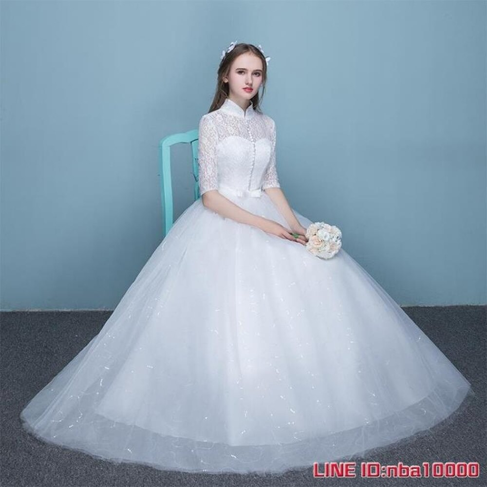 婚紗禮服新娘蕾絲婚紗新款春夏季立領顯瘦女復古簡約齊地婚紗 摩可美家