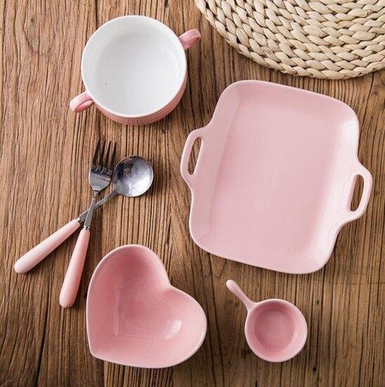 創意日式情侶套裝餐具陶瓷一人食雙耳菜盤湯碗叉勺西餐盤子早餐盤 喜迎新春