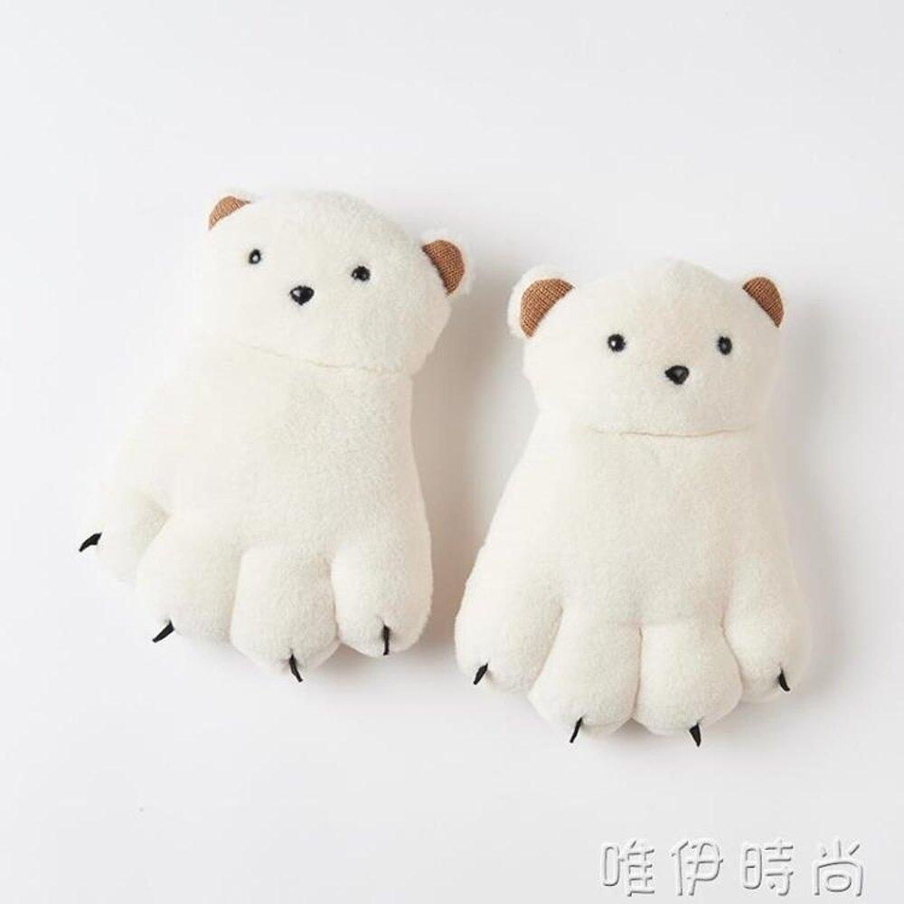 手套 爪子熊掌手套女冬可愛韓版卡通萌掛脖 手套女冬 保暖 加絨 唯伊時尚