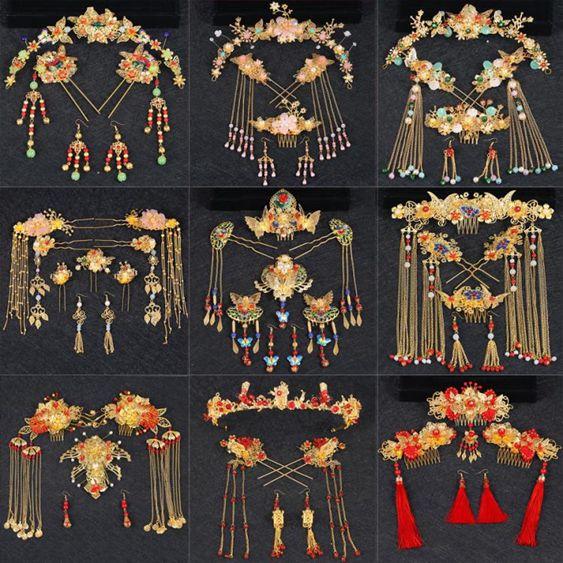 中式漢服新娘頭飾套裝流蘇龍鳳褂古風發飾結婚紅色古裝秀禾服鳳冠