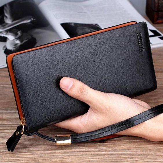 新款韓版男士長款錢包拉?手包多功能男式手拿包商務休閒男手機包