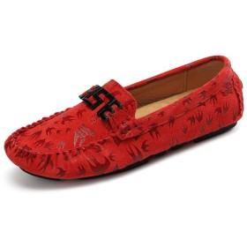 [You Are Fashion] ファッションカジュアルメンズローファー高品質金属装飾アップリケリアル本革靴男性フラットシューズ印刷本革ヴァンプ恋人ボートモカシンソフトソール (Color : 赤, サイズ : 23 CM)