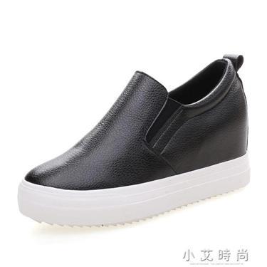 內增高女鞋小白鞋百搭8CM一腳蹬黑色厚底懶人樂福鞋  聖誕節禮物