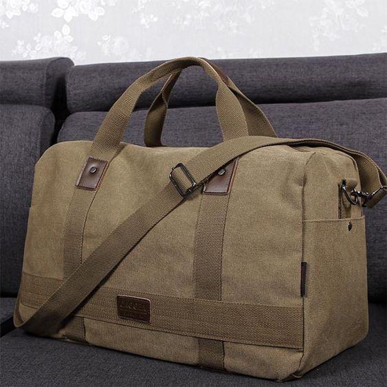帆布旅行包男手提行李包出差健身包短途旅游包大容量可摺疊運動包