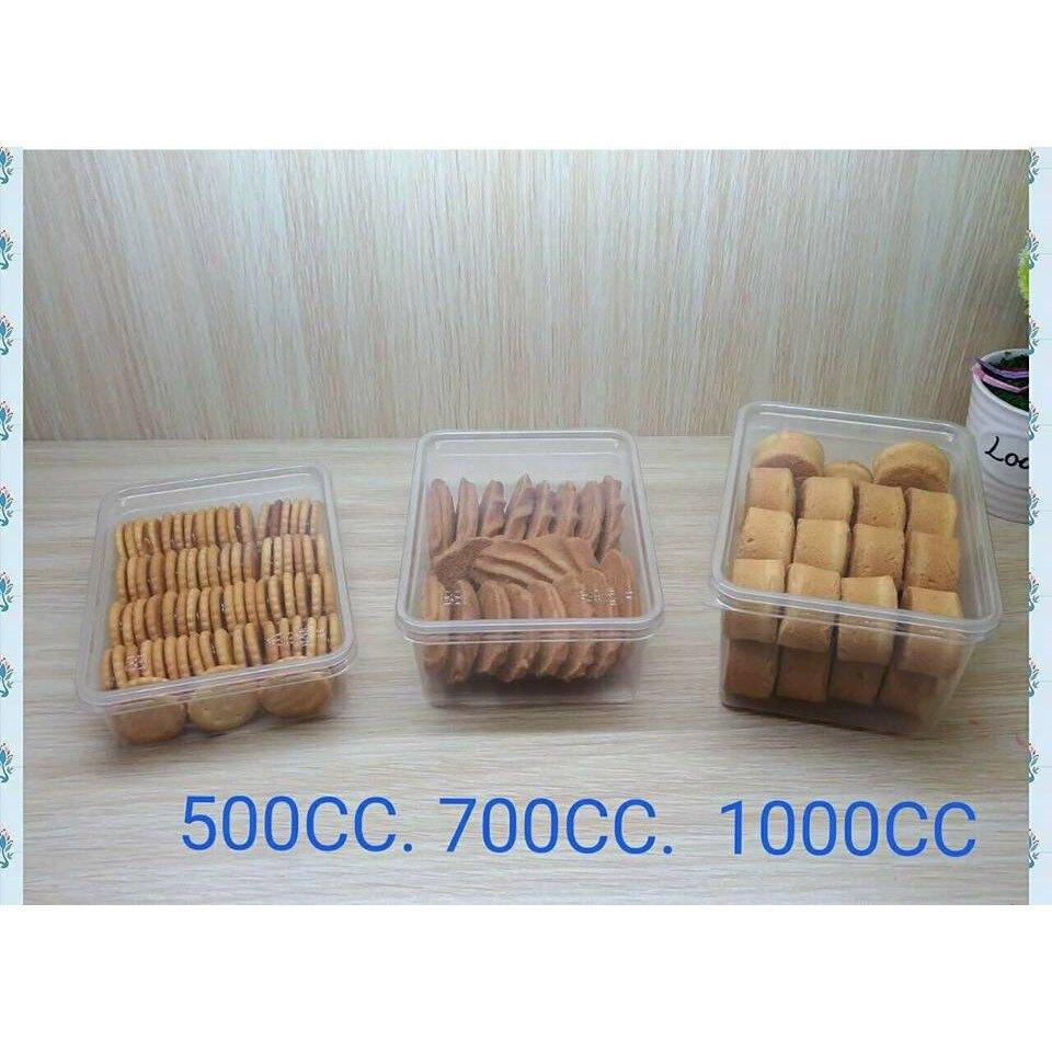 【嚴選SHOP】5入 台灣製 500cc 餅乾盒 PP底+PET蓋 塑膠盒 密封盒 保鮮盒 包裝盒 冰淇淋盒【S011】