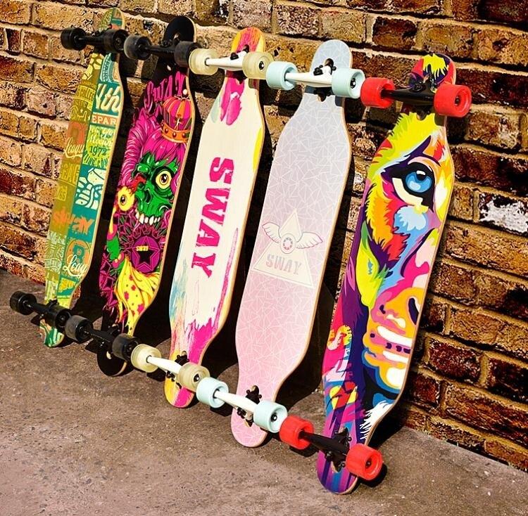 斯威長板公路滑板四輪滑板車青少年兒童男女生舞板成人滑板初學者jy【快速出貨】