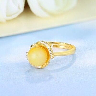 925純銀戒指琥珀銀飾-時尚簡潔亮眼迷人生日情人節禮物女飾品73ga10【獨家進口】【米蘭精品】