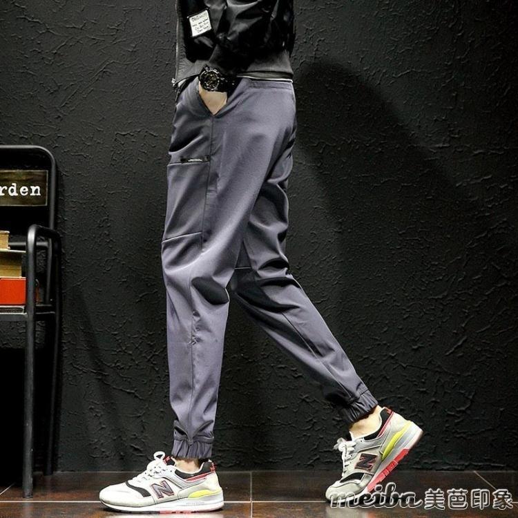 冬季褲子男韓版潮流束腳褲男生休閒褲小腳哈倫寬鬆加絨加厚運動褲 印象