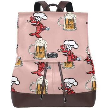 マザーズバッグ レザーバックパック リュック リュックサック バックパック ランドセル ハンドバッグ ザリガニ ビール 大容量 レザー 持ち運びに便利 耐摩耗性 学校 余暇 ビジネスバッグ 旅行 カジュアル