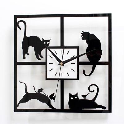 趣味可愛貓掛鐘時尚創意小貓壁時鐘