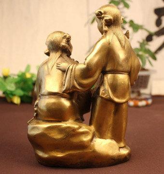 開光銅和合二仙家居擺件工藝品增加姻緣感情和睦