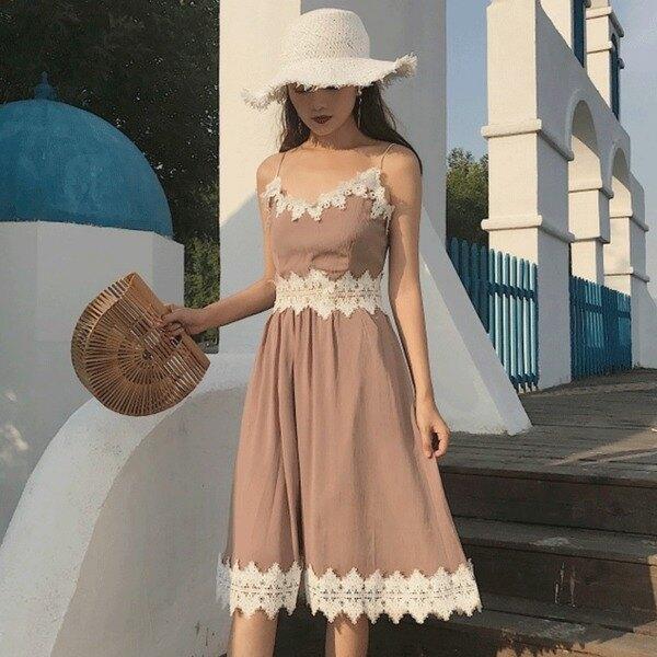 [超豐國際]夏季女裝中長款蕾絲拼接花邊V領吊帶裙顯瘦學生連衣1入
