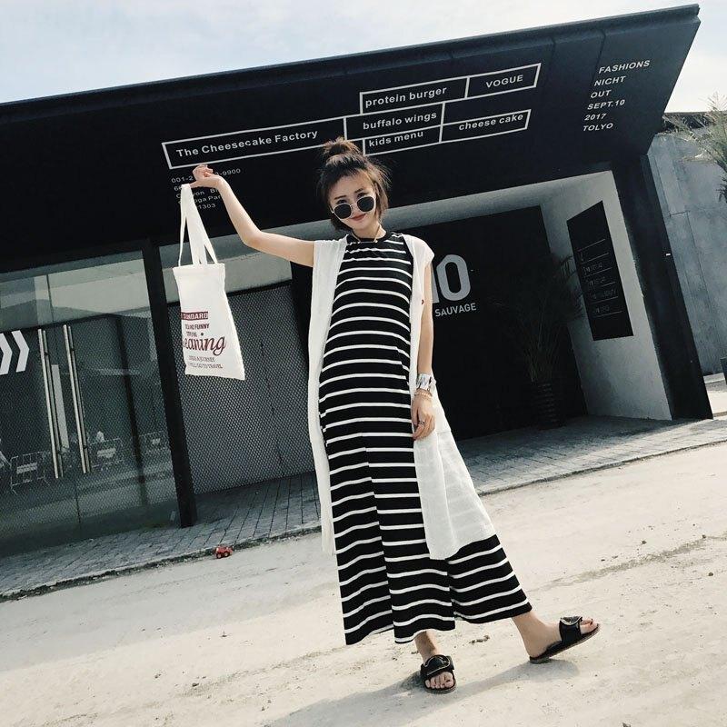FINDSENSE G6 韓國時尚 夏季 套裙 條紋 無袖  簡約 百搭 氣質 潮流 修身 套裝 針織衫 連身裙 兩件套
