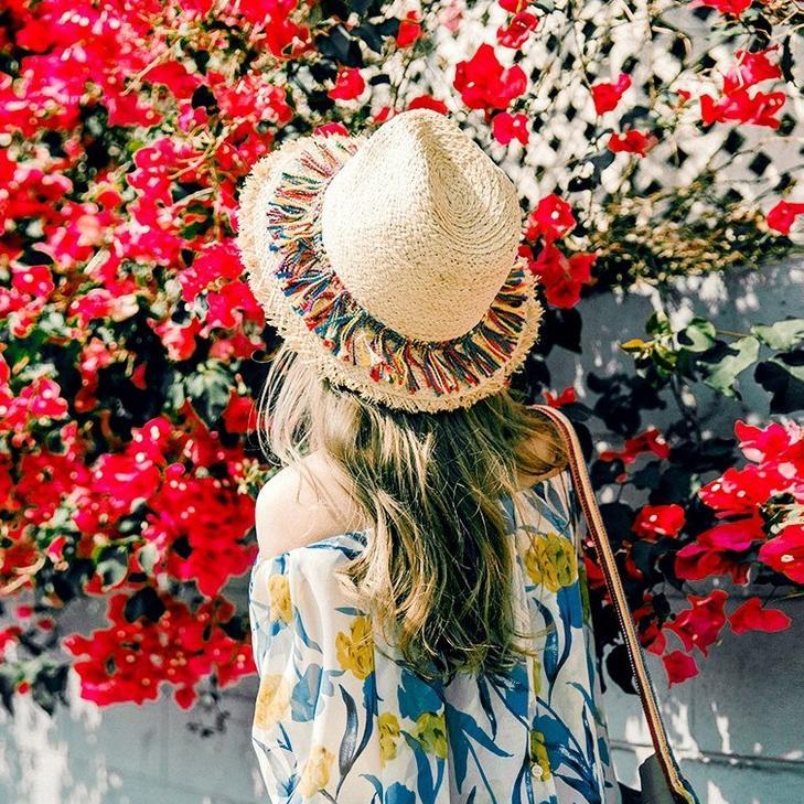 沙灘帽子女夏天海邊度假出游草帽韓版流蘇親子草帽防曬遮陽小禮帽1入