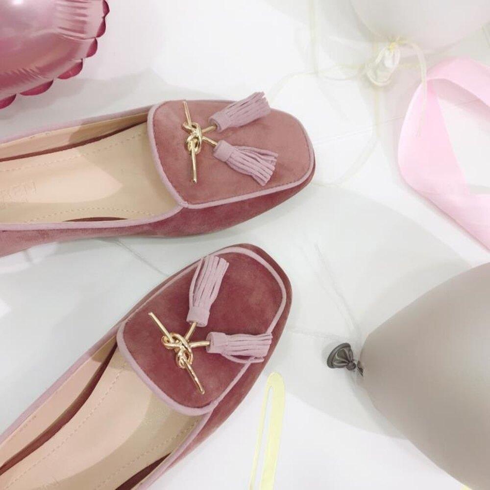 英倫復古女娃娃鞋 張小笨秋季新款方頭復古英倫風金絲絨流蘇淺口牛筋底單鞋女鞋 99免運