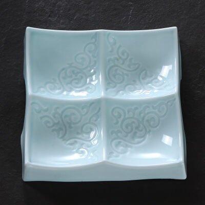 【大號】青墨水 青瓷分格盤子