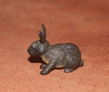 【協貿國際】仿真農場動物模型黑色小兔子(7入)