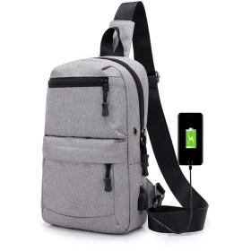 KAMXZHEI メンズショルダーバッグUSBデザインチェストバッグ防水男性メッセンジャーバッグショルダーバッグメッセンジャーバッグ旅行バックパック