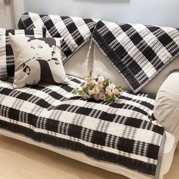 ✤宜家✤時尚簡約黑白加厚條紋沙發巾 四季沙發墊防滑沙發套(70*240cm)