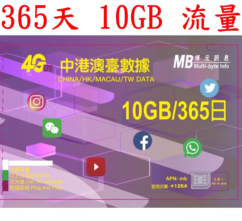 【杰元生活館】365日10GB流量中國大陸、香港、澳門、台灣上網卡大中華(附卡針及收納盒)