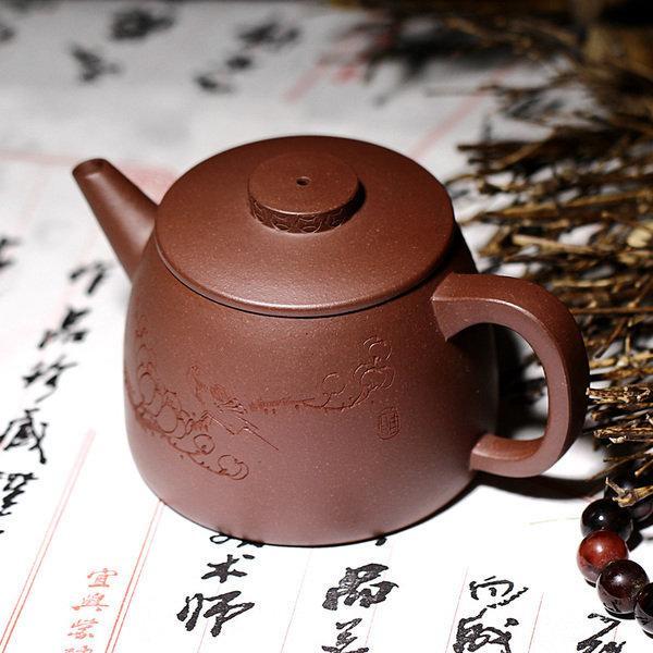 宜興紫砂壺全手工特價茶具 原礦底槽青 壺畫雙絕巨輪220c