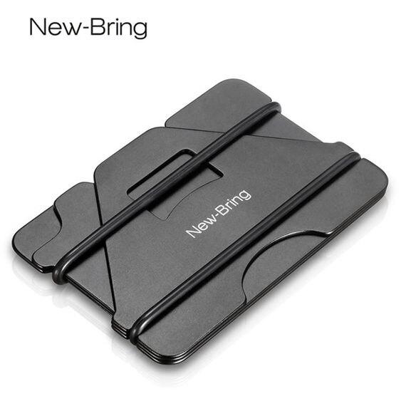 NewBring金屬卡包男超薄小錢夾防盜刷防消磁nfc大容量駕駛證一體