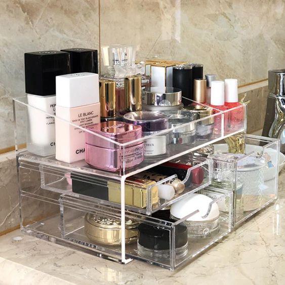 桌面化妝品收納盒口紅架梳妝臺壓克力少女護膚整理抽屜式首飾置物