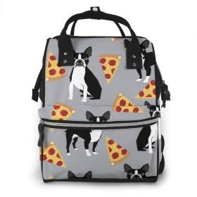 グレーボストンテリア犬ピザおむつバッグバックパック多機能マタニティおむつバッグママ&パパ、旅行バックパックラップトップポケット付き赤ちゃんおむつバッグ-グレイハウンドとワイン