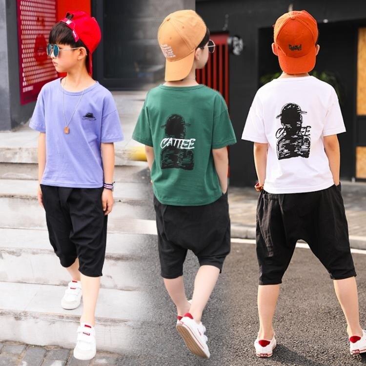 兩件套 童裝男童夏裝套裝中大童帥氣潮裝12歲兒童短袖兩件套夏季