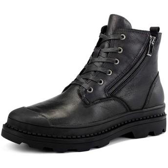[スター イー ビズネス] エンジニアブーツ メンズ ロングブーツ マーチンシューズ レザー かっこいい レースアップ 本革 ジッパー 秋 冬靴 BOOTS 裏起毛 ブラック 黒 26.5CM