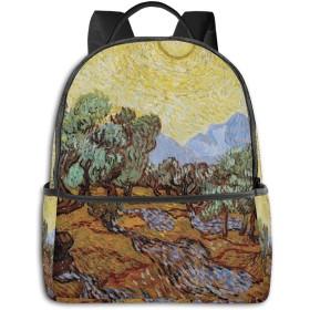 黄色い空と太陽とオリーブの木 リュック バックパックリュックサック 大容量 PCバッグ レジャーバッグ 旅行カバン 登山リュック ビジネスリュック ユニセックス おしゃれ 人気