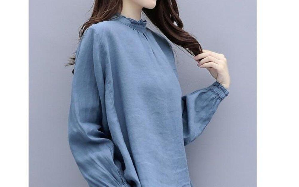 棉麻上衣 天上衣女潮裝新款女裝衣服韓版寬鬆棉麻長袖百搭  都市時尚