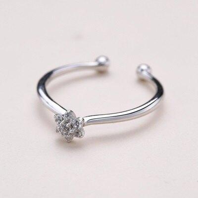 925純銀戒指開口戒-精美鑲鑽小花時尚女飾品73qm7【獨家進口】【米蘭精品】