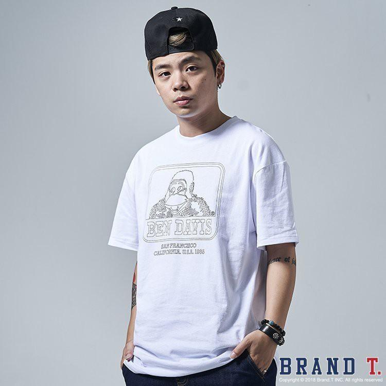 BEN DAVIS LOGO TEE 白色 素描 線條 猿人 短袖 T恤 短T【BDC062】
